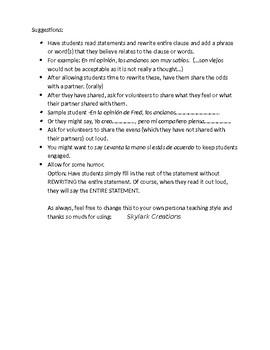 Avancemos 3 Unit 2 Lesson 1  Terminar la frase empleando vocabulario