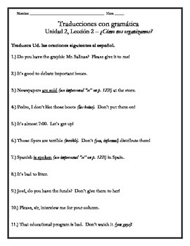 Avancemos 3 - Unit 2 Lesson 2 Translation Worksheet w/Grammar Emphasis