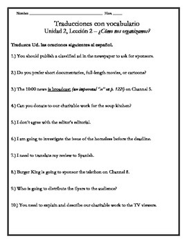 Avancemos 3 - Unit 2 Lesson 2 Translation Worksheet w/Voca