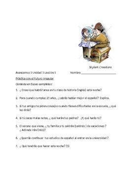 Avancemos 3 Unit 3 Lesson 1  Irregular Future    Speaking  & writing activities
