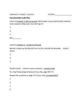 Avancemos 3 Unit 3 Lesson 1 Lab worksheet  for Online work