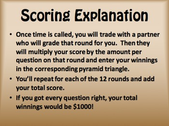 Avancemos 3 Unit 3 Lesson 2 $1000 Pyramid Game