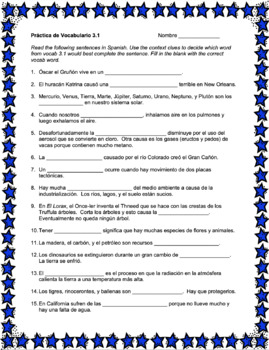 Avancemos 3 Unit 3 Vocabulary Activity