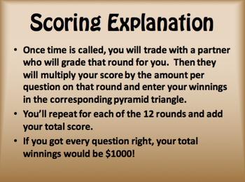Avancemos 3 Unit 4 Lesson 1 $1000 Pyramid Game