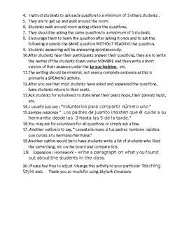 Avancemos 3 Unit 4 Lesson 1 Survey and Speaking Activity