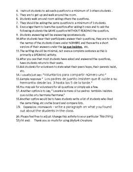 Avancemos 3 Unit 4 Lesson 1 Survey and Speaking Activity