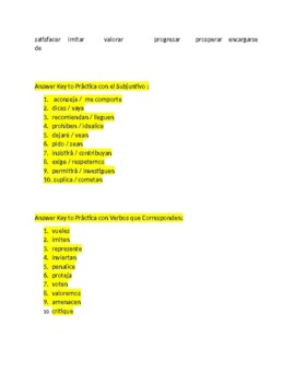 Avancemos 3 Unit 4 lesson 1   Verbs of Influence    -   Verb Fill-in Exercises