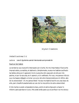 Avancemos 4 Unit 5 Lesson 2 Reading Comprehension or Assessment