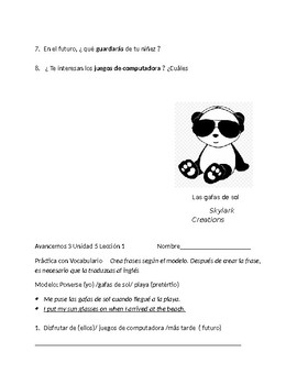 Avancemos 3 Unit 5 Lesson 1  Packet of 3 vocabulary exercises
