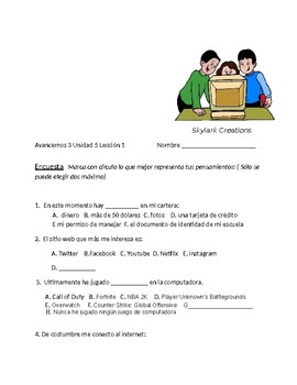 Avancemos 3 Unit 5 Lesson 1 Survey and Speaking Activity