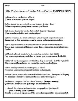 Avancemos 3 - Unit 5 Lesson 1 Translations Worksheet w/Grammar Emphasis