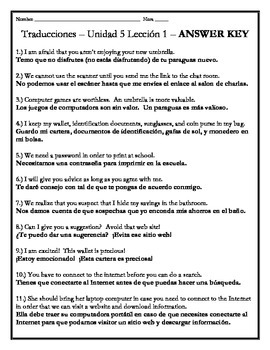 Avancemos 3 - Unit 5 Lesson 1 Translations Worksheet w/Vocabulary Emphasis