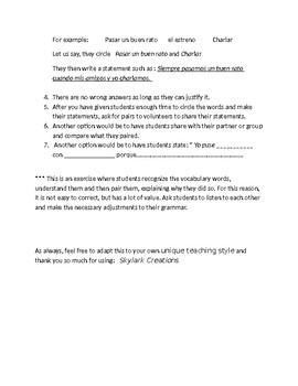 Avancemos 3 Unit 5 Lesson 2 Vocabulary relationship