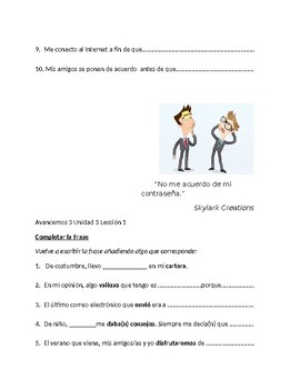 Avancemos 3 Unit 5 lesson 1 Bundle with 7 exercises for Unit 5 lesson 1