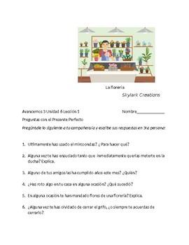 Avancemos 3 Unit 6 Lesson 1 Preguntas para Companeros with Present Perfect tense