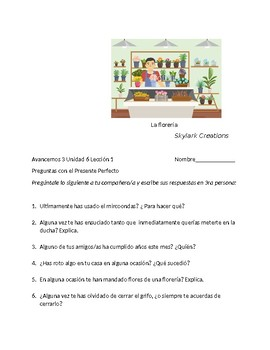 Avancemos 3 Unit 6 Lesson 1  Speaking with  Present Perfect  tense