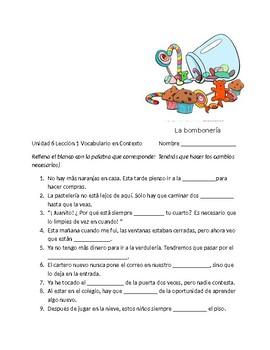 Avancemos 3 Unit 6 Lesson 1 Vocabulary Fill-in