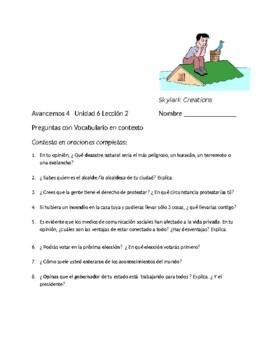 Avancemos 4 Unit 6 Lesson 2 Preguntas con Vocabulario