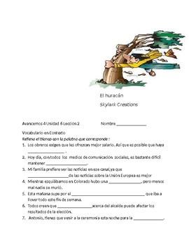 Avancemos 4 Unit 6 Lesson 2 Vocabulary Fill-in