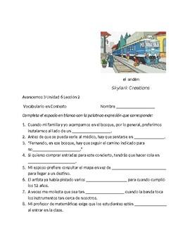 Avancemos 3 Unit 6 Lesson 2 Vocabulary Fill-in