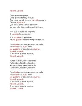 Spanish 3  Dime que me Esperas  Listening Comprehension Song