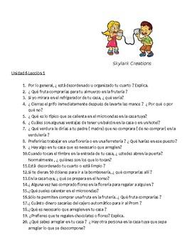 Avancemos 3 Unit 6 lesson 2 Oral exam or practice Unit 5 Lesson 2 thru 6.2