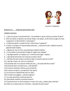 Avancemos 3 Oral exam or practice Unit 5 Lesson 2 through 6.2