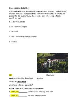 Avancemos 3 Unit 6 lesson 2 Vocabulary Quiz
