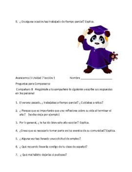 Avancemos 3 Unit 7 Lesson 1 Guided Speaking  Exercises