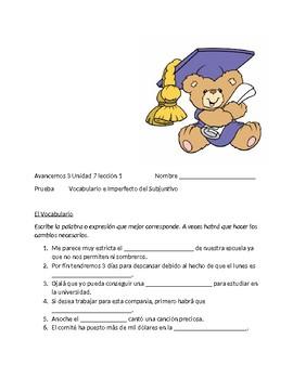 Avancemos 3 Unit 7 Lesson 1 Quiz on vocabulary / Imperfect Subjunctive