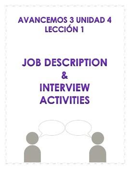Avancemos 3 unidad 4 lección 1: Job descriptions and interviews activity