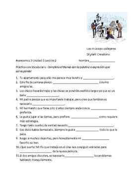 Avancemos 3  unit 5 Lesson 2 Vocabulary Fill-in