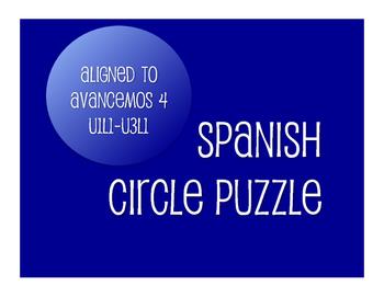 Avancemos 4 Semester 1 Review Circle Puzzle