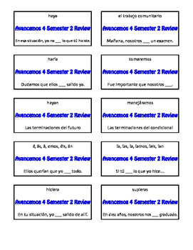 Avancemos 4 Semester 2 Review Circle Puzzle