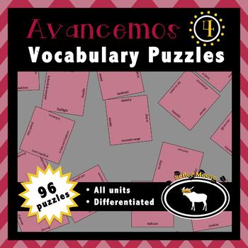 Avancemos 4 Spanish Vocabulary Puzzles (Entire Textbook)