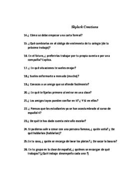 Avancemos 4 Oral Exam or Practice 50 questions Unit1 through Unit 2 lesson 2