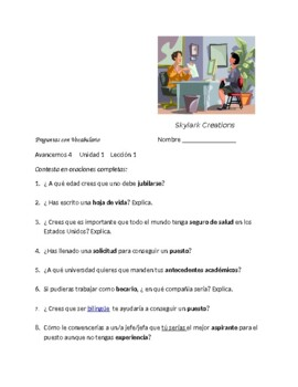 Avancemos 4 Unit 1 Lesson 1   Packet of 3  vocabulary exercises