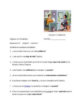 Avancemos 4 Unit 1 Lesson 1  Practica con Vocabulario