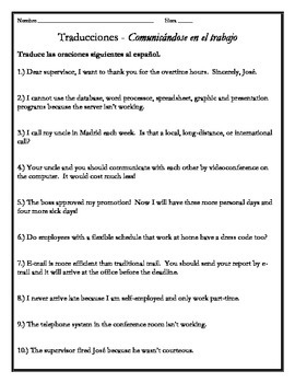 Avancemos 4 - Unit 1 Lesson 2 Translations Worksheet with Vocabulary Emphasis