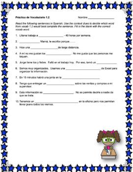 Avancemos 4 Unit 1 Vocabulary Activities