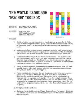 Avancemos 4 Unit 2 Lesson 1 Board Game