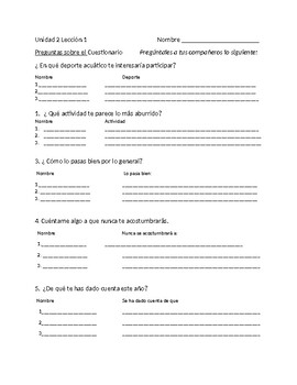 Avancemos 4 Unit 2 Lesson 1 Survey Speaking activity