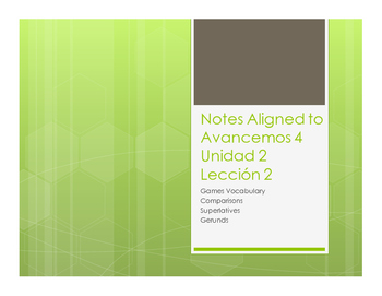 Avancemos 4 Unit 2 Lesson 2 Notes