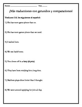 Avancemos 4 - Unit 2 Lesson 2 Supplemental Gerunds & Translations Worksheet
