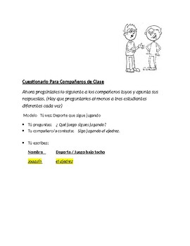 Avancemos 4 Unit 3 Lesson 1 Questions with vocabulary & Speaking activity