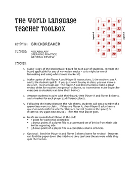 Avancemos 4 Unit 3 Lesson 1 Brickbreaker Game