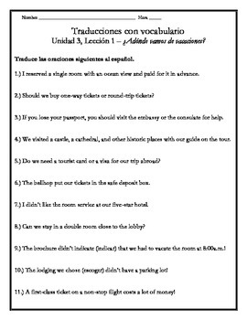 Avancemos 4 - Unit 3 Lesson 1 Translations Worksheet with Vocabulary Emphasis