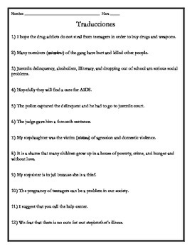 Avancemos 4 - Unit 4 Lesson 1 Translations Worksheet with Vocabulary Emphasis