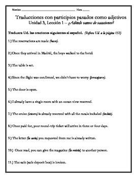 Avancemos 4 - Unit 3 Lesson 1 Translations w/Past Participles as Adjectives