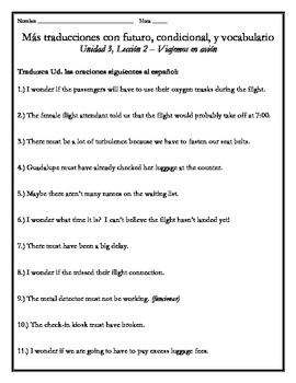 Avancemos 4 - Unit 3 Lesson 2 Translations Worksheets w Future & Conditional
